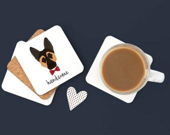 Personalized German Shepherd Coasters, German Shepherd Gifts, Custom German Shepherd Gifts, German Shepherd with Bow Tie Coaster (Set of 2)