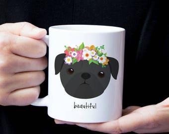 Personalized Pug Mug, Pug Coffee Mug, Pug Mug, Custom Pug Mug, Personalize Pug Gift, Dog Mug, Pug Cup, Sad Pug Cup, Pug Gift, Black Pug, Pug