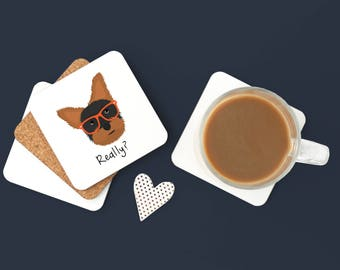 Personalized Yorkshire Terrier Coasters, Custom Yorkshire Terrier Gifts, Yorkie Gift,Yorkie Coasters, Yorkie with Glasses Coaster (Set of 2)