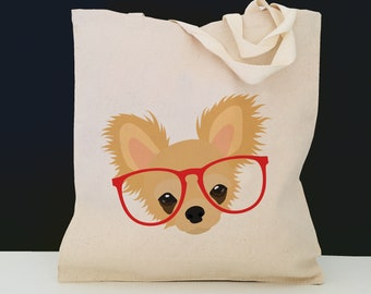 Personalized Chihuahua Tote Bag (FREE SHIPPING), 100% Cotton Canvas Dog Tote Bag, Custom Dog Tote, Dog, Chihuahua Gifts, Chihuahua Tote Bag