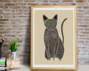 Black Cat Art Print, Cat Wall Art, Black Cat Wall Art, Cat Decor, Cat Giclee Print, Cat Home Decor, Black Cat, Cat Gift, Cats, Cat Art Print