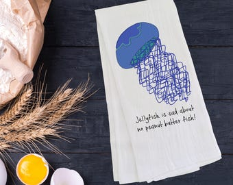 Personalized Jellyfish Tea Towel (FREE SHIPPING), 100% Cotton Flour Sack Towel, Jellyfish Tea Towel,Jellyfish Gift,Jellyfish Gifts,Jellyfish