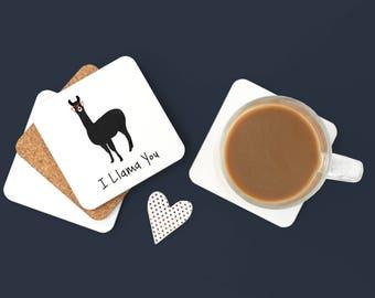 Personalized Llama Coasters, Llama Gift, Llama Coasters, Custom Llama Coaster, Llama Drinkware, Alpaca,Llama with Glasses Coaster (Set of 2)