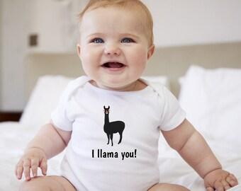 Personalized Llama Baby One-piece, Llama Baby Bodysuit, Custom Llama One-piece, Custom Llama Bodysuit, Llama Bodysuit, I Llama You Bodysuit