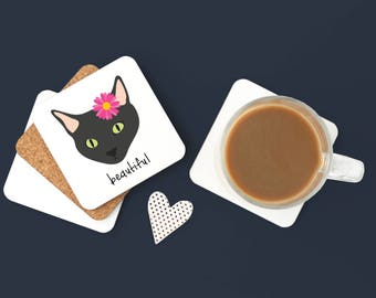 Personalized Black Cat Coasters, Black Cat Gifts, Custom Black Cat Gift, Custom Cat, Cat Coasters, Cat Coaster, Black Cat Coaster (Set of 2)