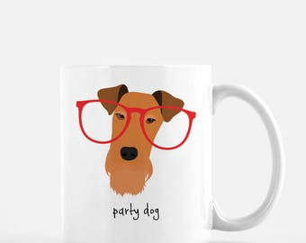 Personalized Airedale Terrier Mug,  Airedale Terrier Cup, Airedale with Glasses Mug, Dog Mug, Customized Airedale Mug, Airedale Terrier Mug