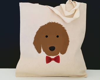 Personalized Goldendoodle Tote Bag (FREE SHIPPING), 100% Cotton Canvas Dog Tote Bag, Custom Dog Tote, Poodle, Goldendoodle Bag, Goldendoodle