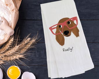 Personalized Dachshund Tea Towel (FREE SHIPPING), 100% Cotton flour sack towel, Dachshund Tea Towel, Dachshund Gift, Dachshund Dish Towel