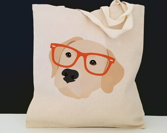 Personalized Yellow Lab with Glasses Tote Bag (FREE SHIPPING), 100% Cotton Canvas Dog Tote Bag, Yellow Lab Tote, Dog Totes, Yellow Lab Gift