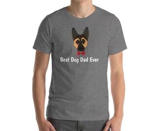 Personalized German Shepherd Short-Sleeve Unisex T-Shirt, German Shepherd T-shirt, Custom Dog T-shirt,Dog T-shirt, Best Dog Dad Ever T-shirt
