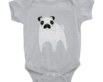 Personalized Pug Baby One-piece, Pug Baby Bodysuit, Custom Dog One-piece, Custom Pug Baby One-piece, Dog Infant Bodysuit, Dog, Pug Bodysuit