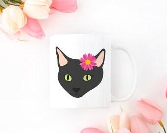 Personalized Black Cat Mug, Black Cat Coffee Mug, Cat Mug, Cat with Flower Coffee Mug, Black Cat Coffee Cup, Black Cat Cup, Cat Coffee Mug