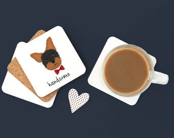 Personalized Yorkshire Terrier Coasters, Custom Yorkshire Terrier Gifts, Yorkie Gift,Yorkie Coasters, Yorkie with Bow Tie Coaster (Set of 2)