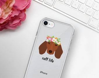 Personalized Dachshund iPhone Cases, Dachshund Phone Case, Custom Dog iPhone Case, iPhone 7, 8 and 7, 8 Plus Cases, Dachshund  iPhone X Case