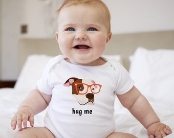 Personalized Pit Bull Baby One-piece, Pit Bull Baby Bodysuit, Custom Dog One-piece, Custom Pit Bull One-piece, Dog Infant Bodysuit, Baby