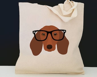 Personalized Dachshund with Glasses Tote Bag (FREE SHIPPING), 100% Cotton Canvas Dog Tote Bag, Dachshund Tote, Dog Totes, Dachshund Tote Bag