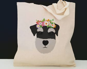 Personalized Schnauzer with Flower Tote Bag (FREE SHIPPING), 100% Cotton Canvas Dog Tote Bag, Schnauzer Totes, Dog Totes, Schnauzer Gifts