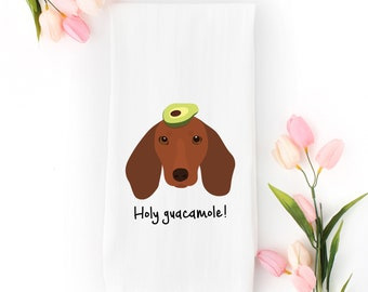 Personalized Dachshund Tea Towel (FREE SHIPPING), 100% Cotton flour sack towel, Dachshund Tea Towel, Dachshund Dish Towel, Dachshund Gifts