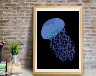 Jellyfish Art Print, Jellyfish Wall Art, Jellyfish Wall Decor, Jellyfish Giclée Print, Jellyfish Decor, Jellyfish Art, Fish, Jellyfish Print