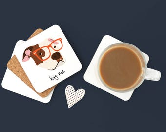Personalized Pit Bull Coasters, Pit Bull Gifts, Pit Bull, Pit Bull with Glasses, Dog Coasters, Pit Bull, Pit Bull Coaster (Set of 2)