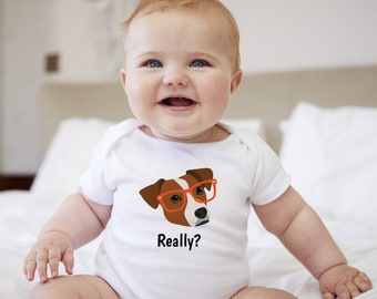 Personalized Jack Russell Terrier Baby One-piece, Jack Russell Baby Bodysuit, Custom Dog One-piece, Custom Jack Russell Bodysuit, Baby Cloth