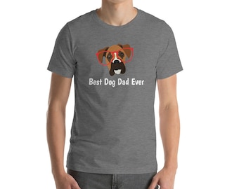 Personalized Boxer Short-Sleeve Unisex T-Shirt, Boxer T-shirt, Custom Dog T-shirt, Boxer, Dog T-shirt, Boxer Dad, Best Dog Dad Ever T-shirt
