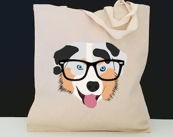 Personalized Australian Shepherd Tote Bag (FREE SHIPPING), 100% Cotton Canvas Dog Tote Bag,Australian Shepherd Tote,Australian Shepherd Gift