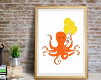 Octopus Art Print, Octopus Wall Art, Octopus Wall Decor, Octopus Giclée Print, Octopus Decor, Octopus Art, Octopus Gift, Octopus Art Print