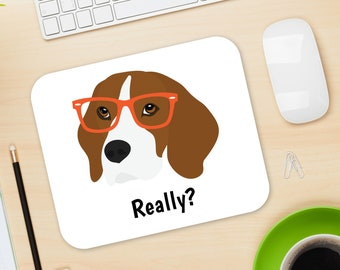 Personalized Beagle Mouse Pad, Beagle Mouse Pad, Custom Dog Mouse Pad, Beagle Mousepads, Beagle Gifts, Beagle Desk Decor, Beagle Mouse Pad