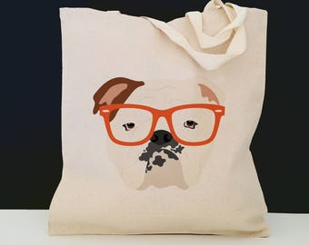 Personalized English Bulldog with Glasses Tote Bag (FREE SHIPPING), 100% Cotton Canvas Dog Tote Bag, Dog Tote, Dog, English Bulldog Tote Bag