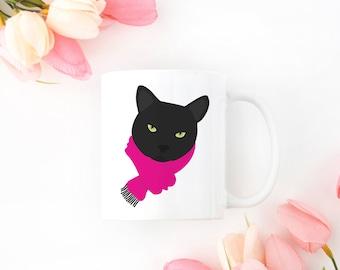 Personalized Black Cat Mug, Black Cat Coffee Mug, Cat Mug, Cat with Scarf Coffee Mug, Black Cat Coffee Cup, Black Cat Cup, Cat Coffee Mug