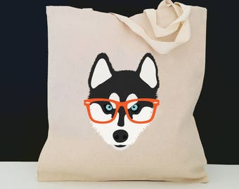 Personalized Husky Glasses Tote Bag (FREE SHIPPING), 100% Cotton Canvas Dog Tote Bag, Husky Tote Bag, Dog Totes, Husky Gifts, Siberian Husky