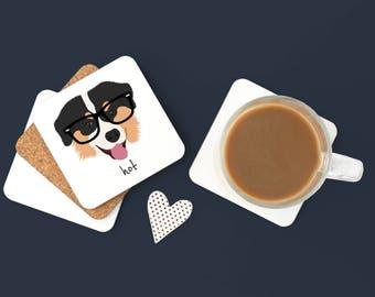 Personalized Australian Shepherd Coasters, Australian Shepherd Gift, Dog Coasters, Pet Coaster Set, Australian Shepherd Coaster (Set of 2)