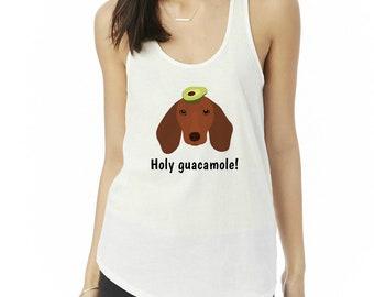 Personalized Dachshund Tank Top, Ladies' Shirttail Tank, Custom Dog Tank Top, Dog Tank Top for Women,Wiener Dog Tees, Dachshund Mom Tank Top