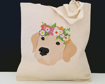 Personalized Yellow Lab with Flower Tote Bag (FREE SHIPPING), 100% Cotton Canvas Dog Tote Bag, Yellow Lab Tote, Dog Totes, Yellow Lab Gift