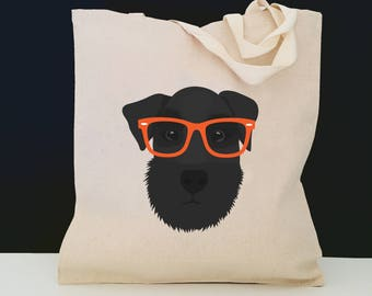 Personalized Schnauzer with Glasses Tote Bag (FREE SHIPPING), 100% Cotton Canvas Dog Tote Bag, Schnauzer Totes, Dog Totes, Schnauzer Gifts
