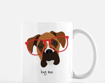 Personalized Boxer Mug, Customized Boxer Cup, Boxer with Glasses Mug, Dog Mug, Boxer Coffee Mug, Custom Boxer Gift, Boxer, Boxer Coffee Mug
