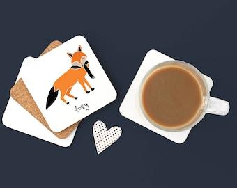 Personalized Fox Coasters, Fox Gift, Fox Coasters, Custom Fox Coaster, Fox Drinkware, Fox, Fox Lover Gift, Fox with Scarf Coaster (Set of 2)