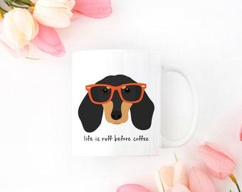 Personalized Dachshund Mug, Dachshund Mug, Dachshund with Glasses, Dachshund Coffee Mug, Wiener Dog Mug, Dachshund with Glasses Coffee Cup