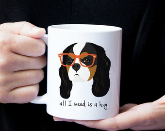 Personalized Cavalier King Charles Spaniel Coffee Mug, Cavalier King Charles Spaniel with Glasses Mug, Cavalier King Charles Spaniel Cup