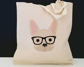 Personalized French Bulldog with Glasses Tote Bag (FREE SHIPPING), 100% Cotton Canvas Dog Tote Bag, Frenchie Tote, French Bulldog Gift, Dog