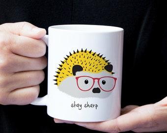 Personalized Hedgehog Mug, Hedgehog Coffee Mug, Hedgehog Mug, Hedgehog, Hedgehog Coffee Cup, Porcupine Coffee Mug, Hedgehog with Glasses