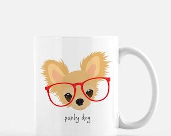 Personalized Chihuahua Mug, Customized Chihuahua Gift, Chihuahua with Glasses Mug, Custom Dog Mug, Chihuahua Mug, Dog, Chihuahua Coffee Mug