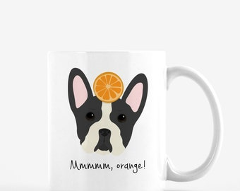 Personalized Boston Terrier Mug, Boston Terrier Coffee Mug, Boston Terrier Mug, Dog Mug, Dog with Fruit Mug, Boston Terrier Coffee Cup
