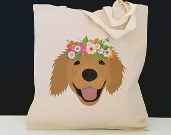 Personalized Golden Retriever with Flower Tote Bag (FREE SHIPPING), 100% Cotton Canvas Dog Tote Bag, Golden Retriever Tote, Golden Retriever