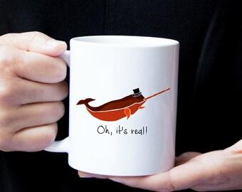 Personalized Narwhal Mug, Narwhal Coffee Mug, Narwhal Mug, Narwhal Mugs, Narwhal Cup, Narwhal Gift, Narwhal, Narwhal with Hat Mug (Red)