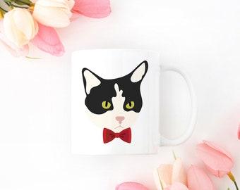 Personalized Tuxedo Cat Mug, Tuxedo Cat Coffee Mug, Cat Mug, Cat with Bow Tie Mug, Tuxedo Cat Coffee Cup, Black and White Cat, Tuxedo Cat