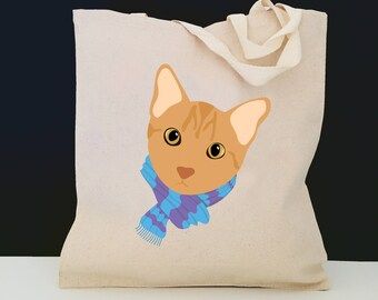 Personalized Orange Tabby Cat with Scarf Tote Bag (FREE SHIPPING), 100% Canvas Cat Tote Bag, Orange Tabby Cat Tote Bag, Cat Totes, Cat Bag