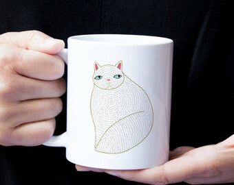 Personalized White Cat Mug, Customized Cat Coffee Mug, Cat Mug, Cat Gifts, Custom Cat Mug, Persian Cat Coffee Cup, Cat, Fat Cat Coffee Mug