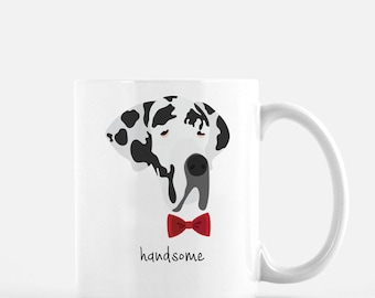 Personalized Great Dane Mug, Great Dane Coffee Mug, Great Dane Gifts, Dog Mug, Great Dane with Bow Tie, Customized Great Dane Mug,Great Dane